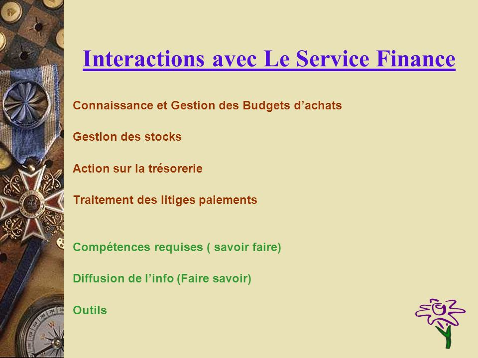 Interactions avec Le Service Finance