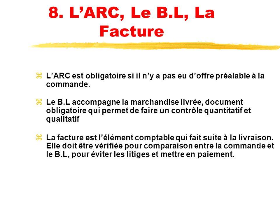 8. L'ARC, Le B.L, La Facture L'ARC est obligatoire si il n'y a pas eu d'offre préalable à la commande.