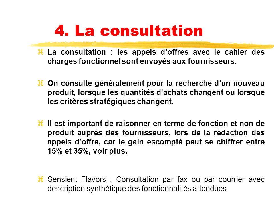 4. La consultation La consultation : les appels d'offres avec le cahier des charges fonctionnel sont envoyés aux fournisseurs.
