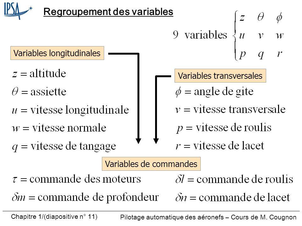 Regroupement des variables