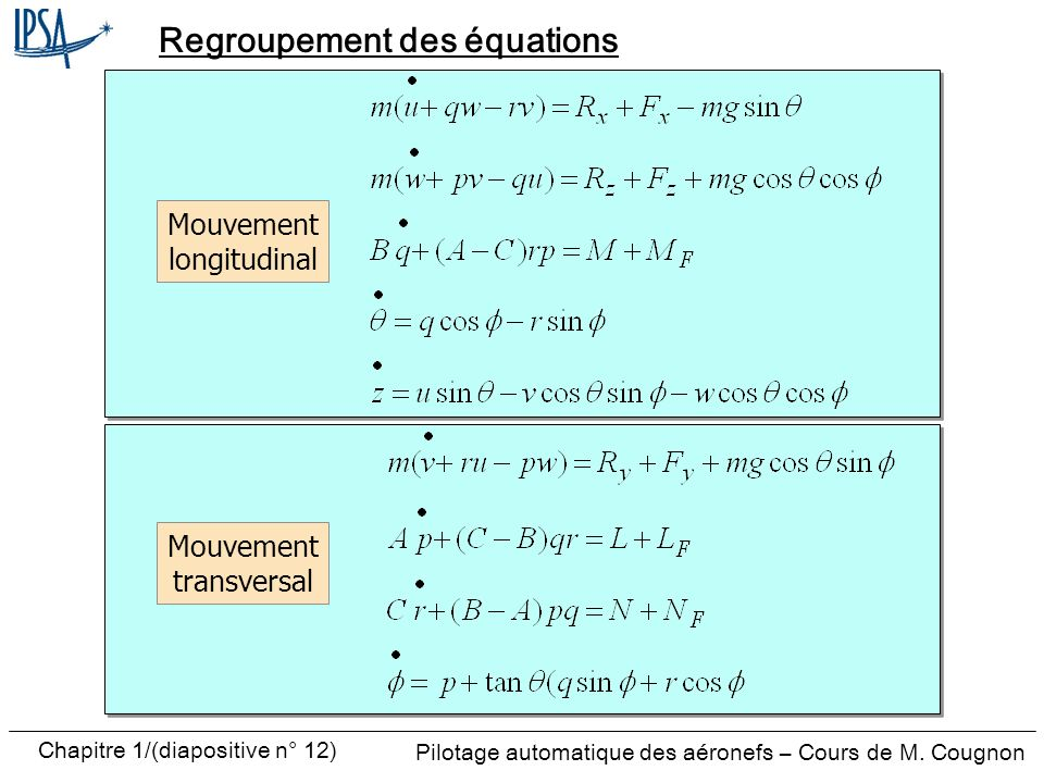 Regroupement des équations