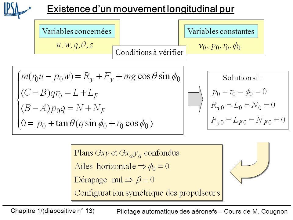 Existence d'un mouvement longitudinal pur