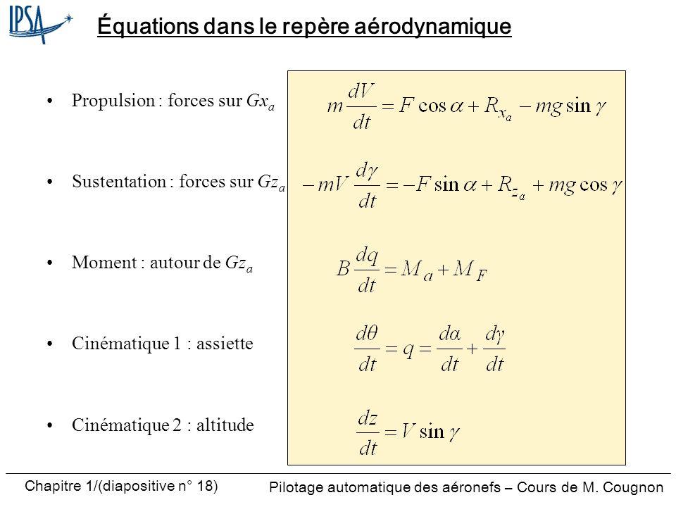Équations dans le repère aérodynamique