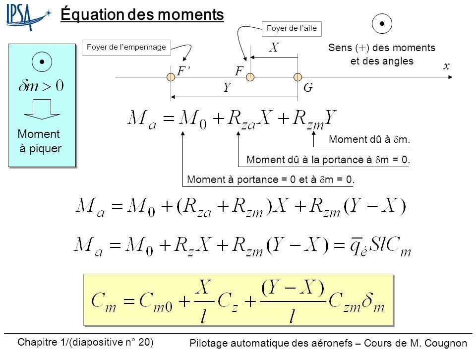 Équation des moments X x F' F Y G Moment à piquer Sens (+) des moments