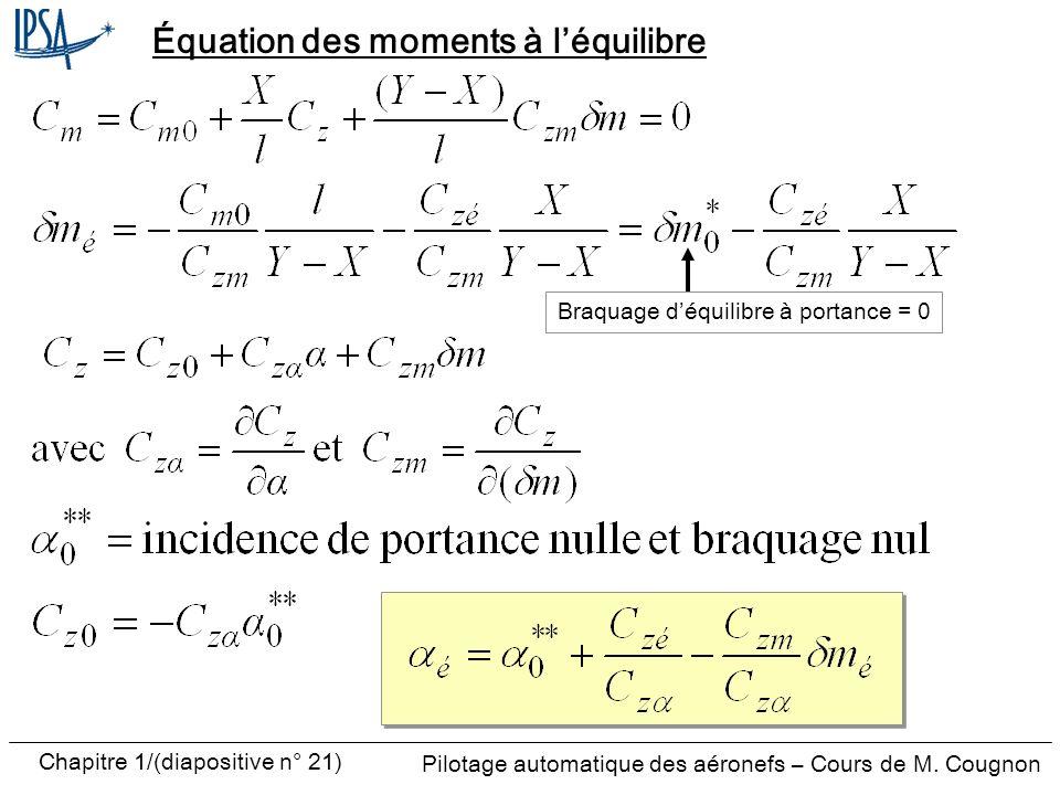 Équation des moments à l'équilibre