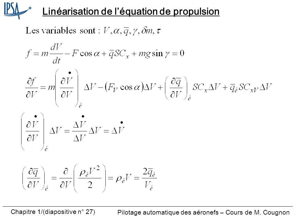 Linéarisation de l'équation de propulsion