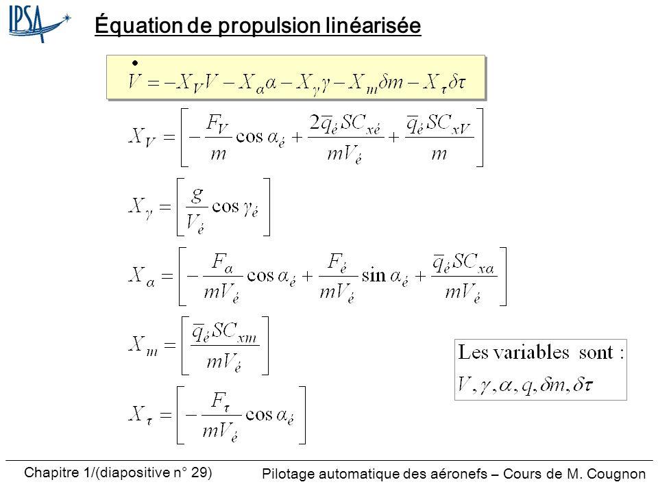 Équation de propulsion linéarisée