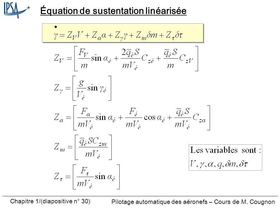 Équation de sustentation linéarisée