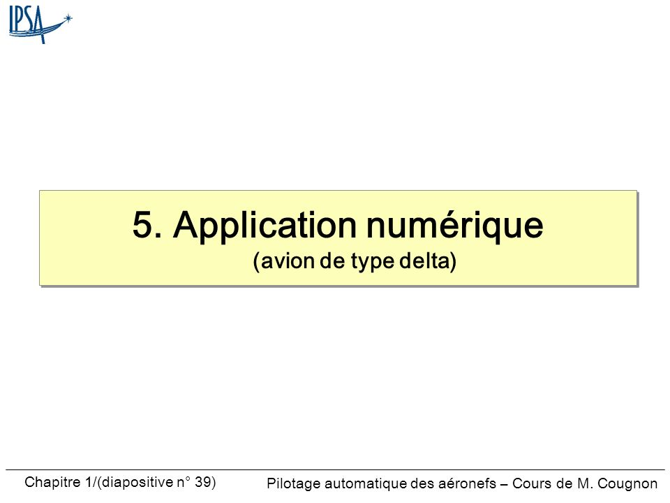 5. Application numérique (avion de type delta)