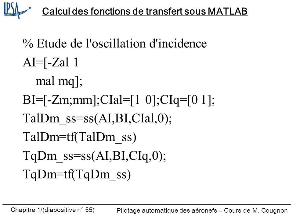 Calcul des fonctions de transfert sous MATLAB