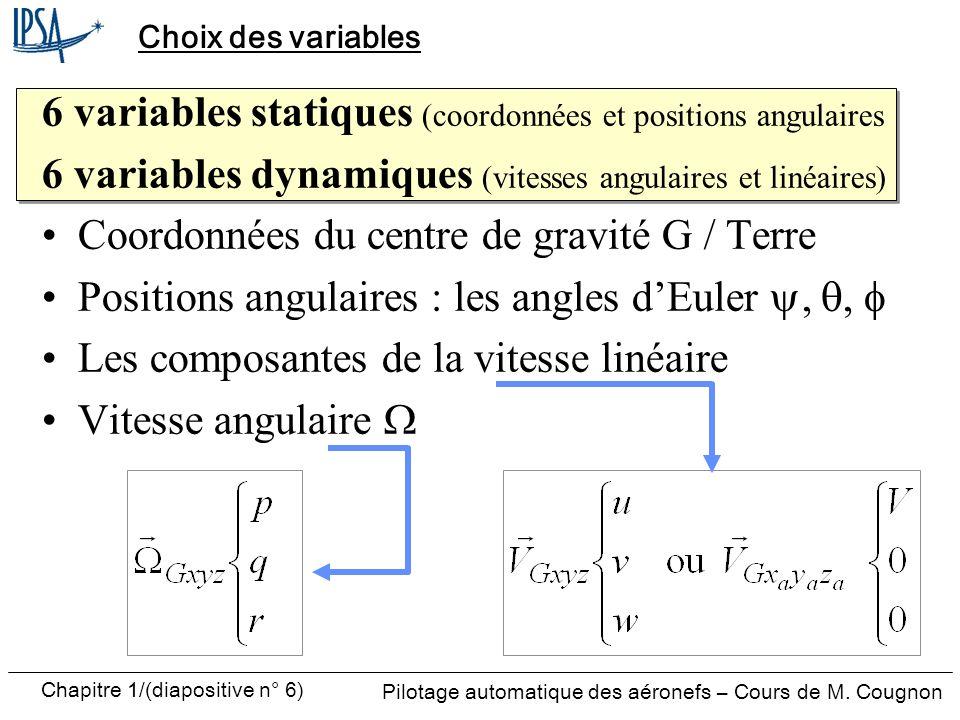6 variables statiques (coordonnées et positions angulaires