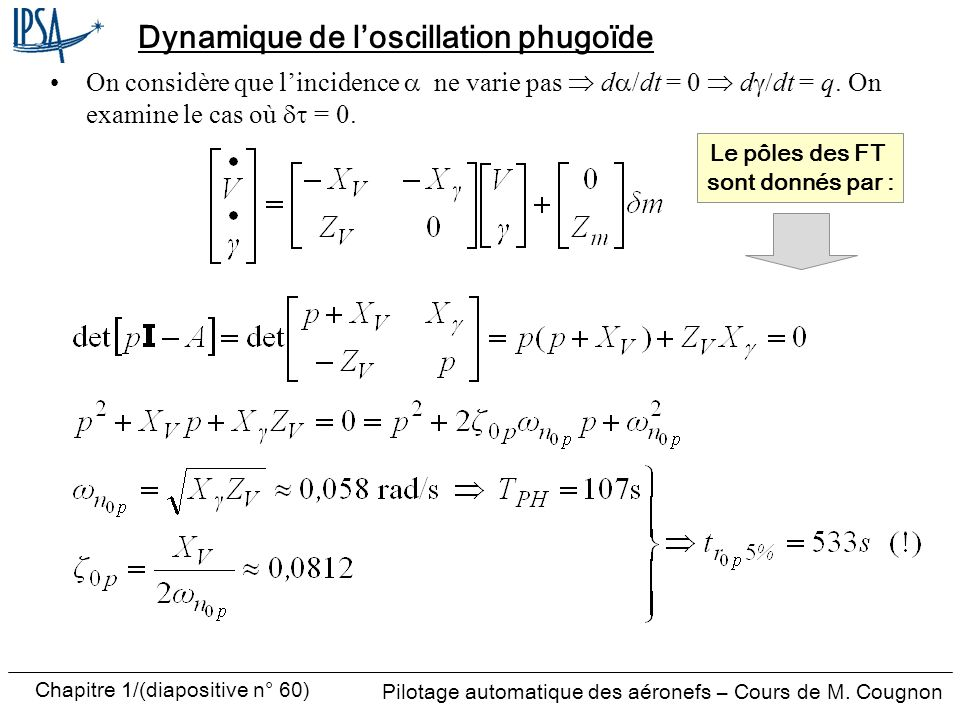 Dynamique de l'oscillation phugoïde