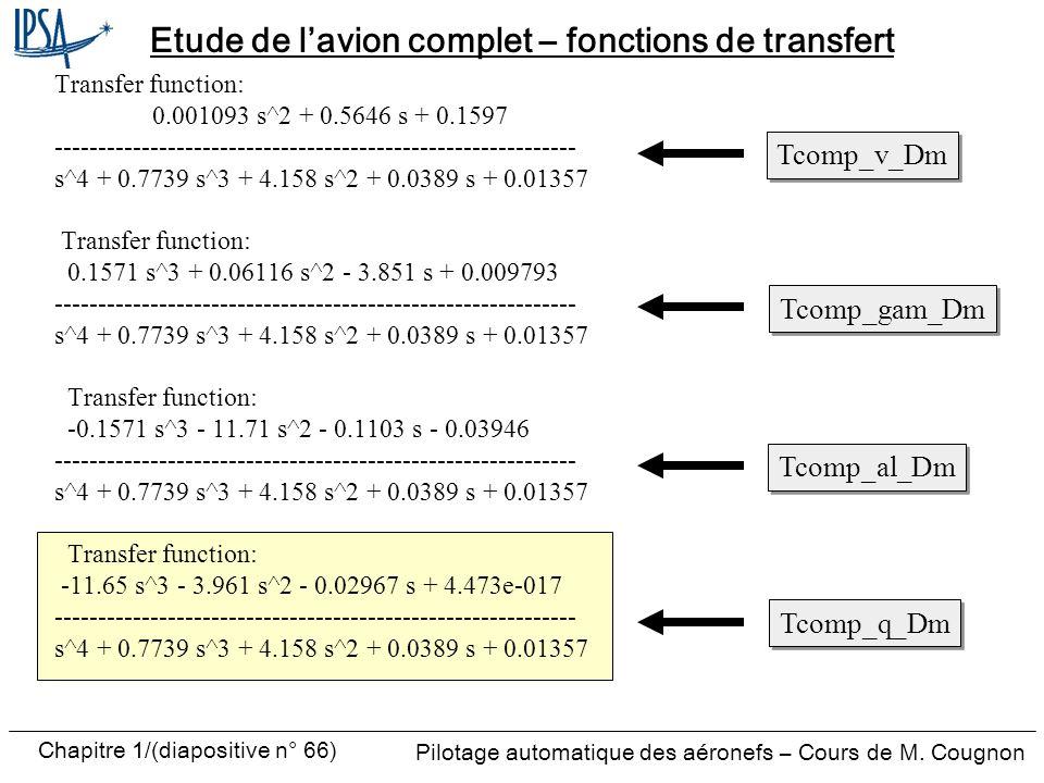 Etude de l'avion complet – fonctions de transfert