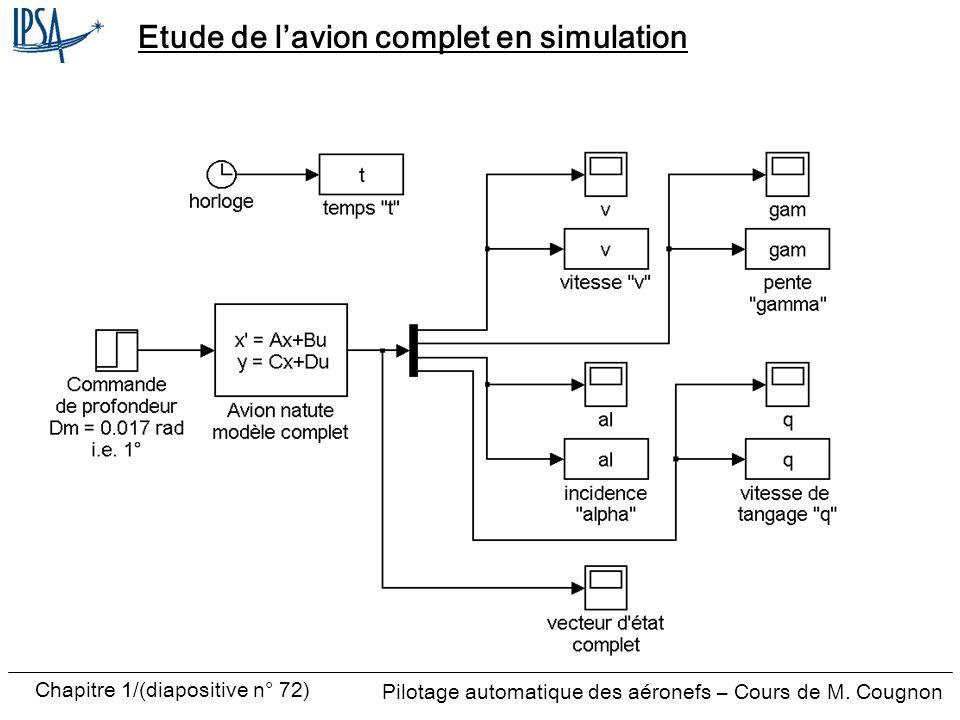 Etude de l'avion complet en simulation