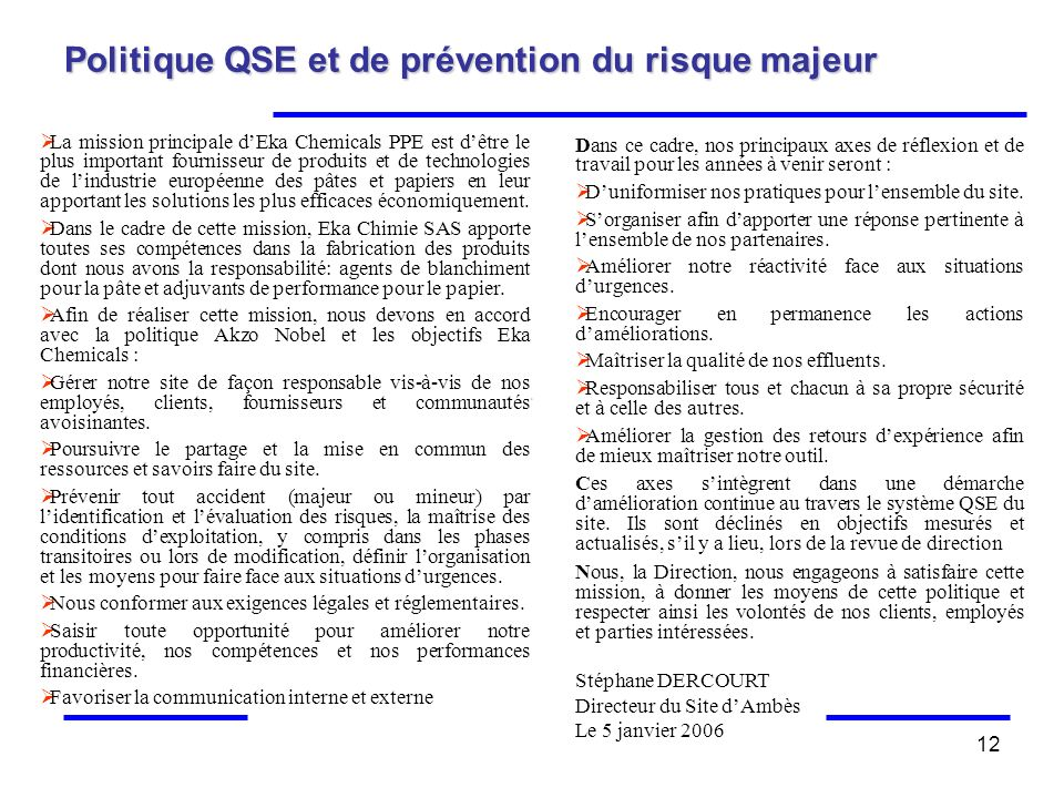 Politique QSE et de prévention du risque majeur