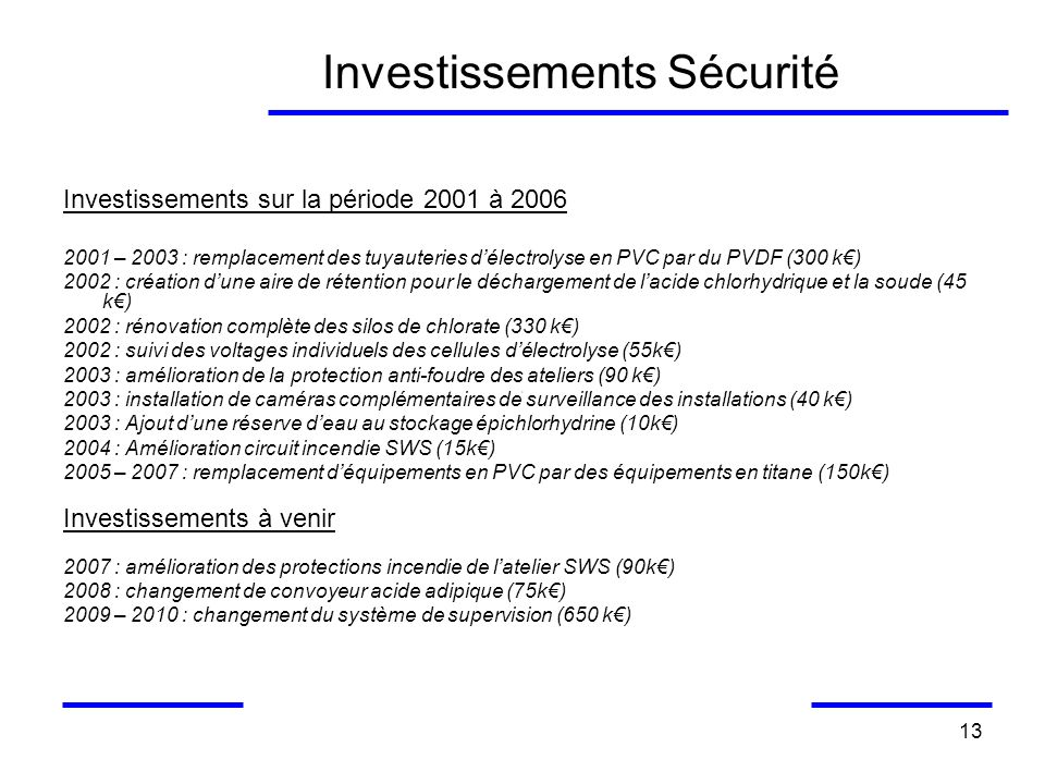 Investissements Sécurité
