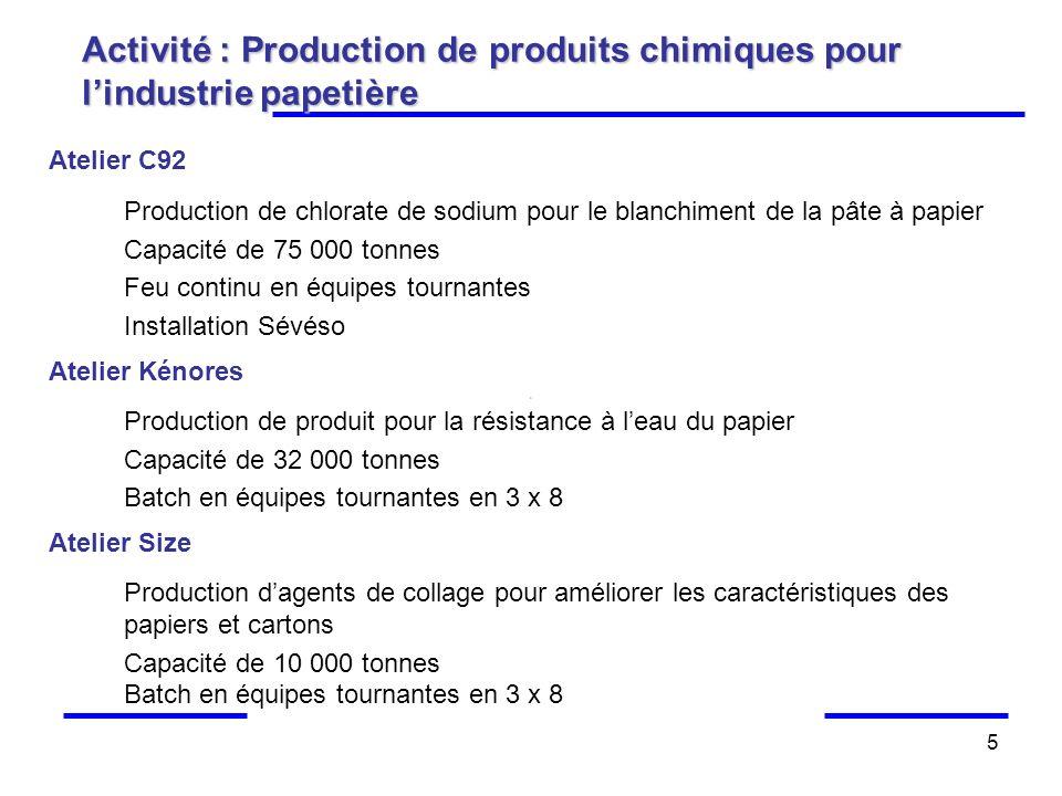 Activité : Production de produits chimiques pour l'industrie papetière