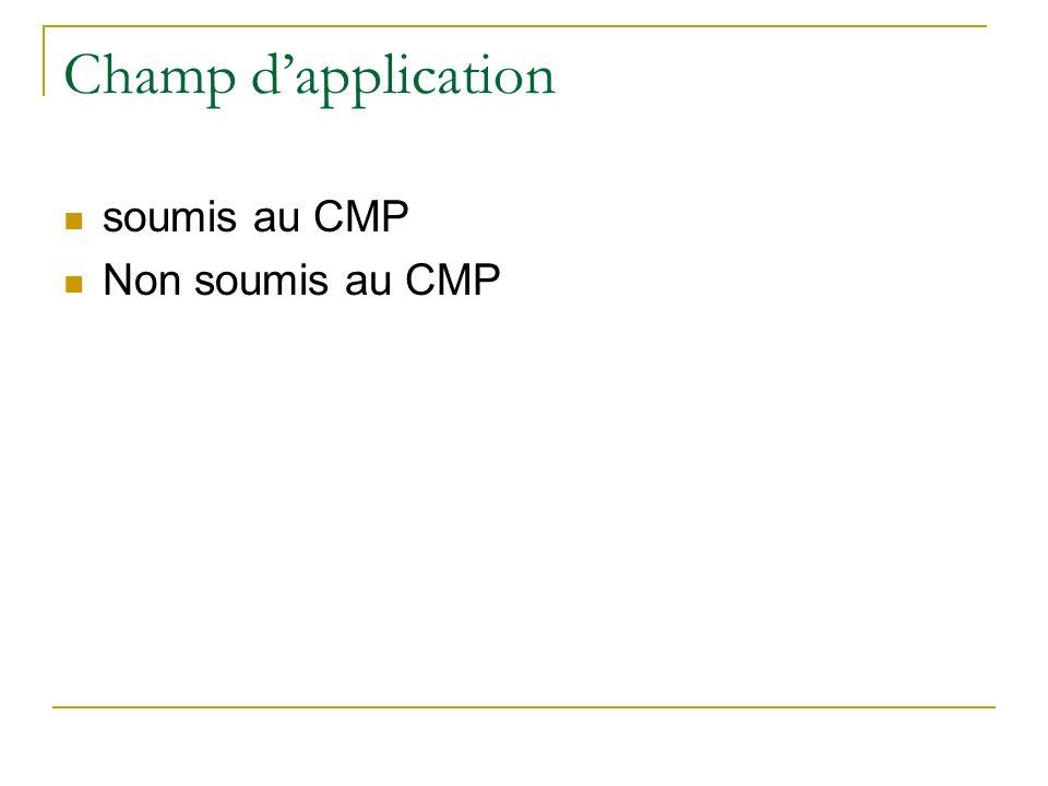 Champ d'application soumis au CMP Non soumis au CMP