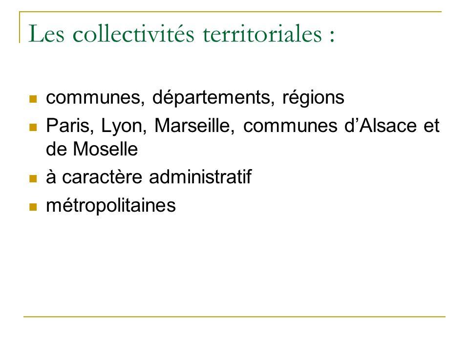 Les collectivités territoriales :