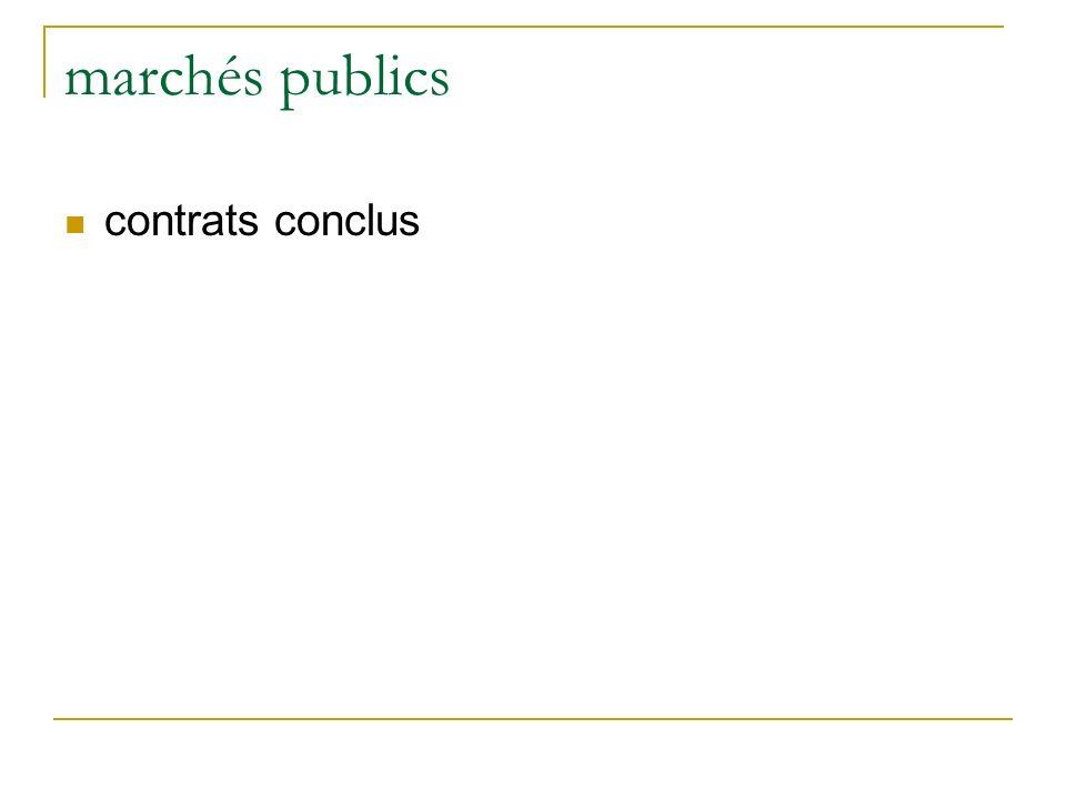 marchés publics contrats conclus