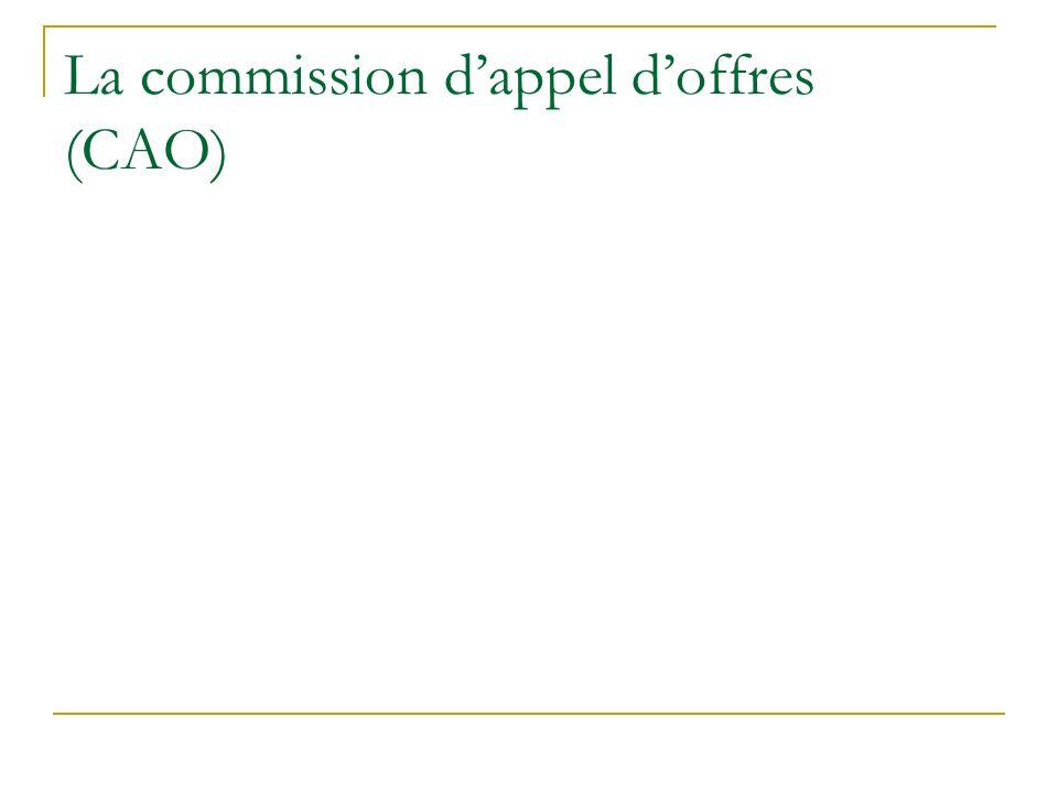 La commission d'appel d'offres (CAO)