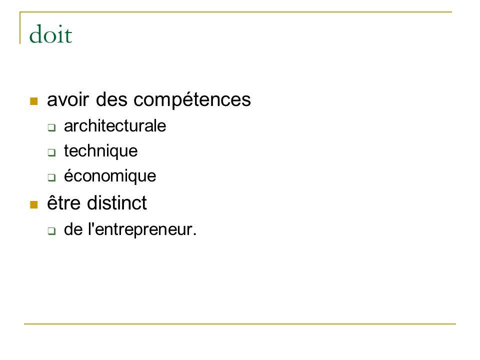 doit avoir des compétences être distinct architecturale technique