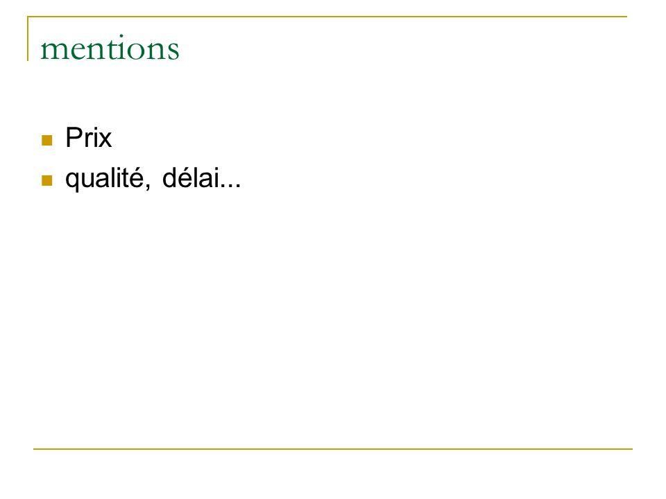 mentions Prix qualité, délai...