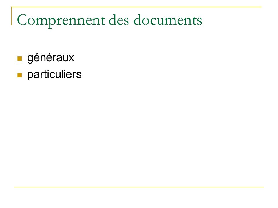 Comprennent des documents