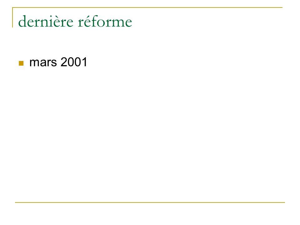 dernière réforme mars 2001