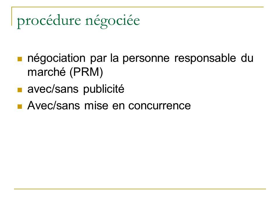 procédure négociée négociation par la personne responsable du marché (PRM) avec/sans publicité.