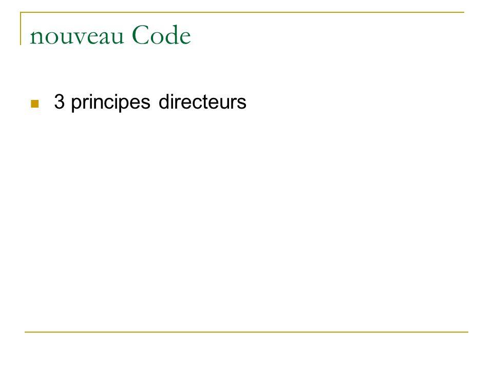 nouveau Code 3 principes directeurs