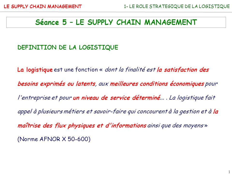 Séance 5 – LE SUPPLY CHAIN MANAGEMENT