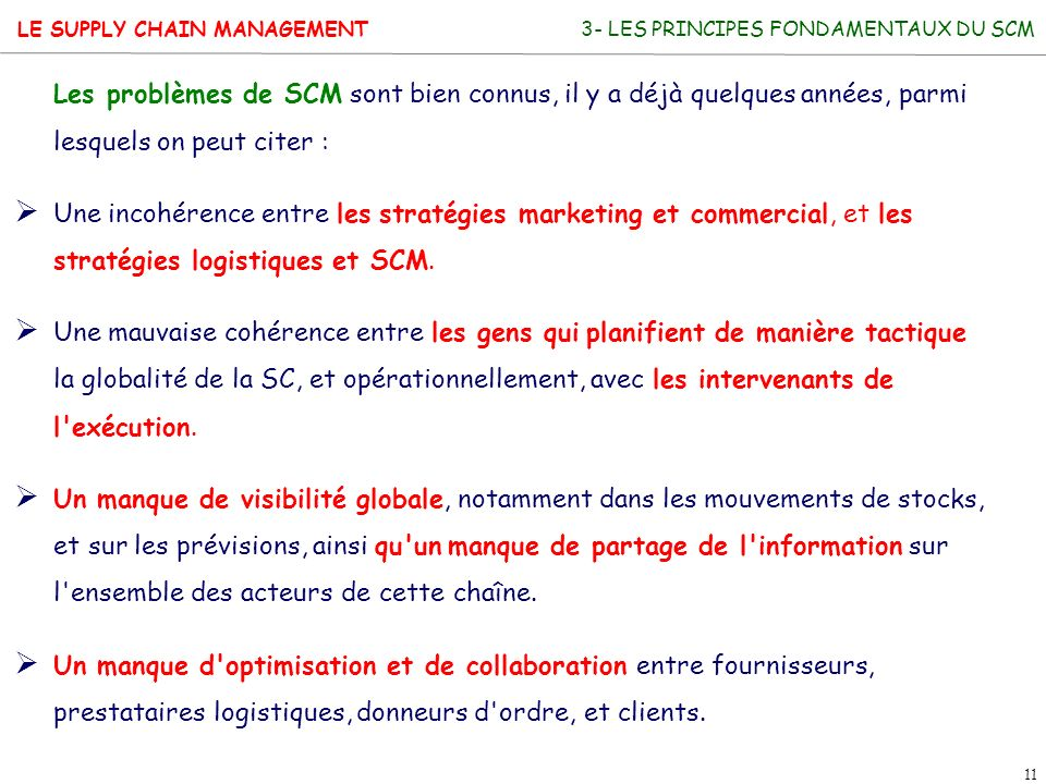 3- LES PRINCIPES FONDAMENTAUX DU SCM