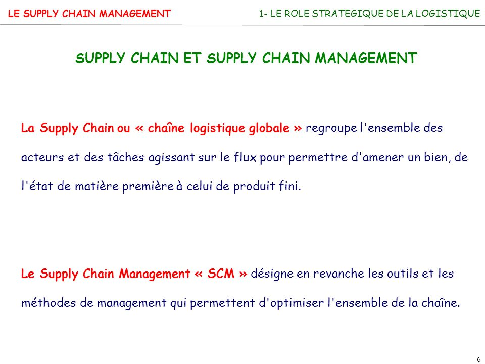 SUPPLY CHAIN ET SUPPLY CHAIN MANAGEMENT