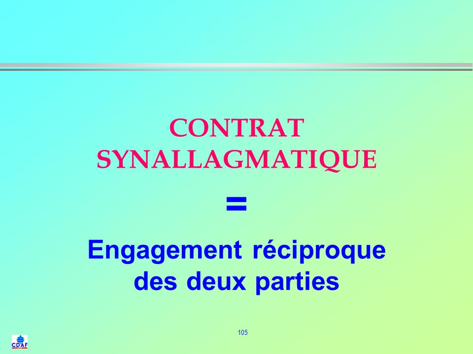 CONTRAT SYNALLAGMATIQUE
