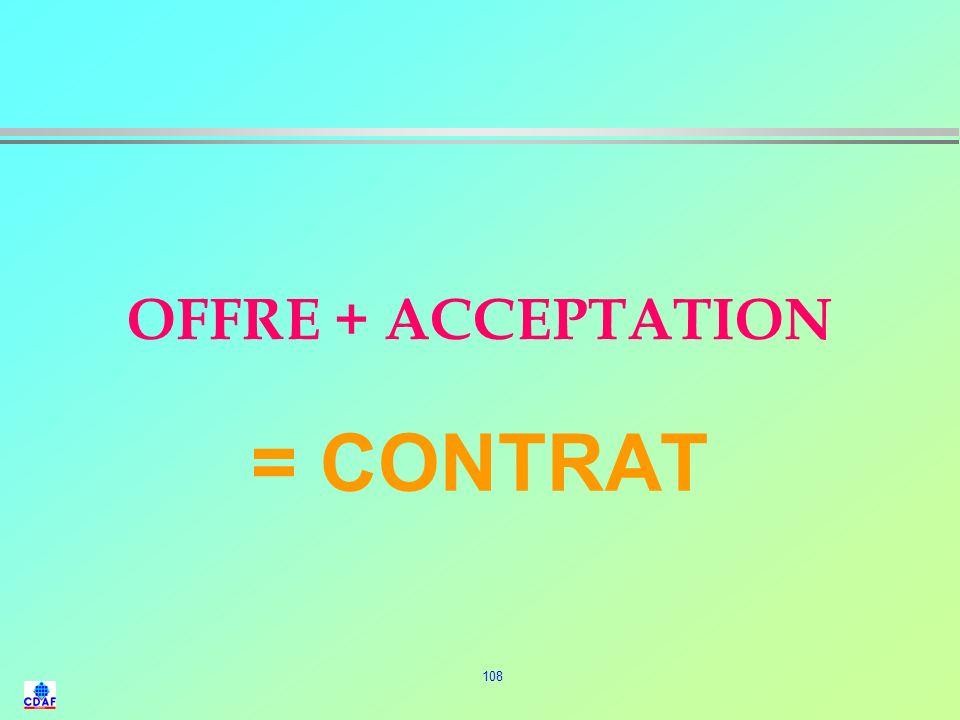 OFFRE + ACCEPTATION = CONTRAT