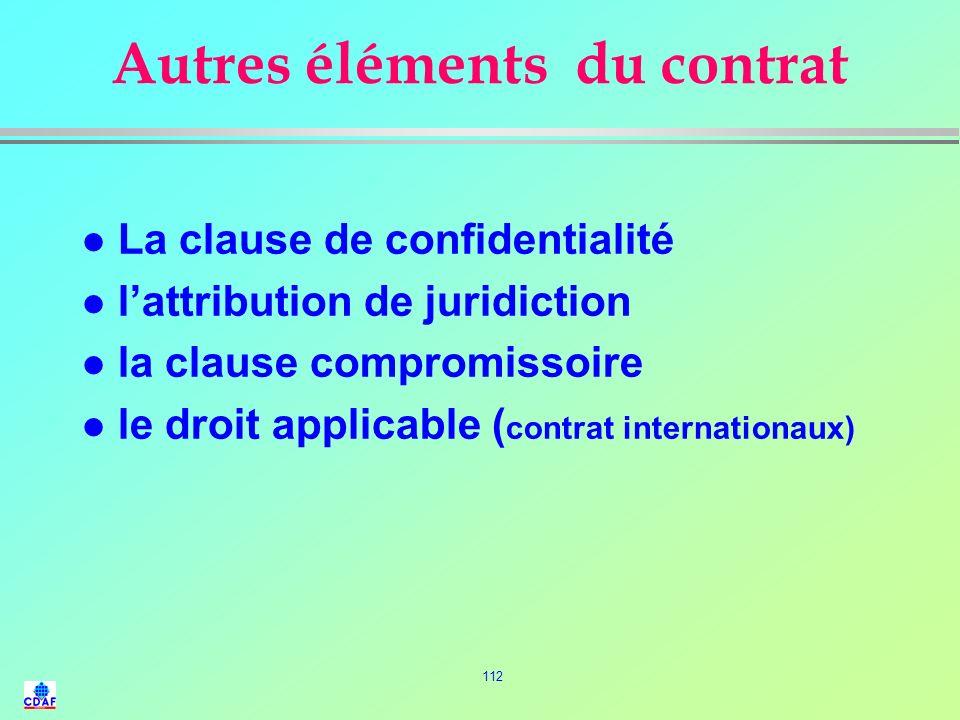 Autres éléments du contrat