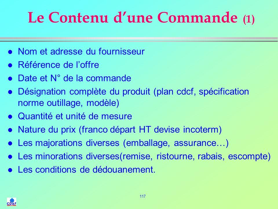 Le Contenu d'une Commande (1)