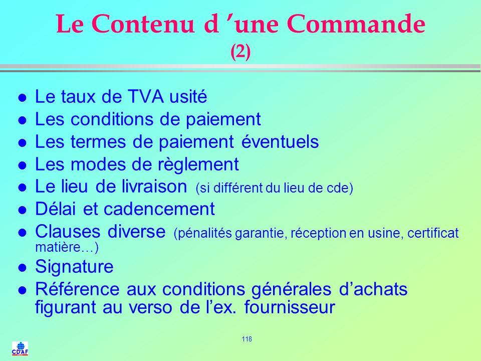 Le Contenu d 'une Commande (2)