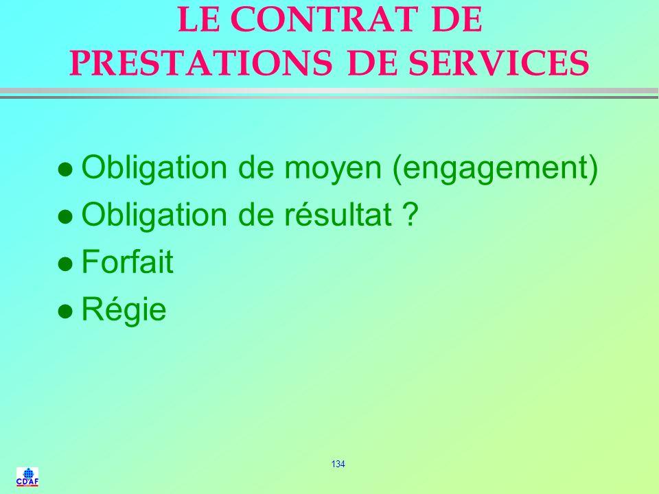 LE CONTRAT DE PRESTATIONS DE SERVICES