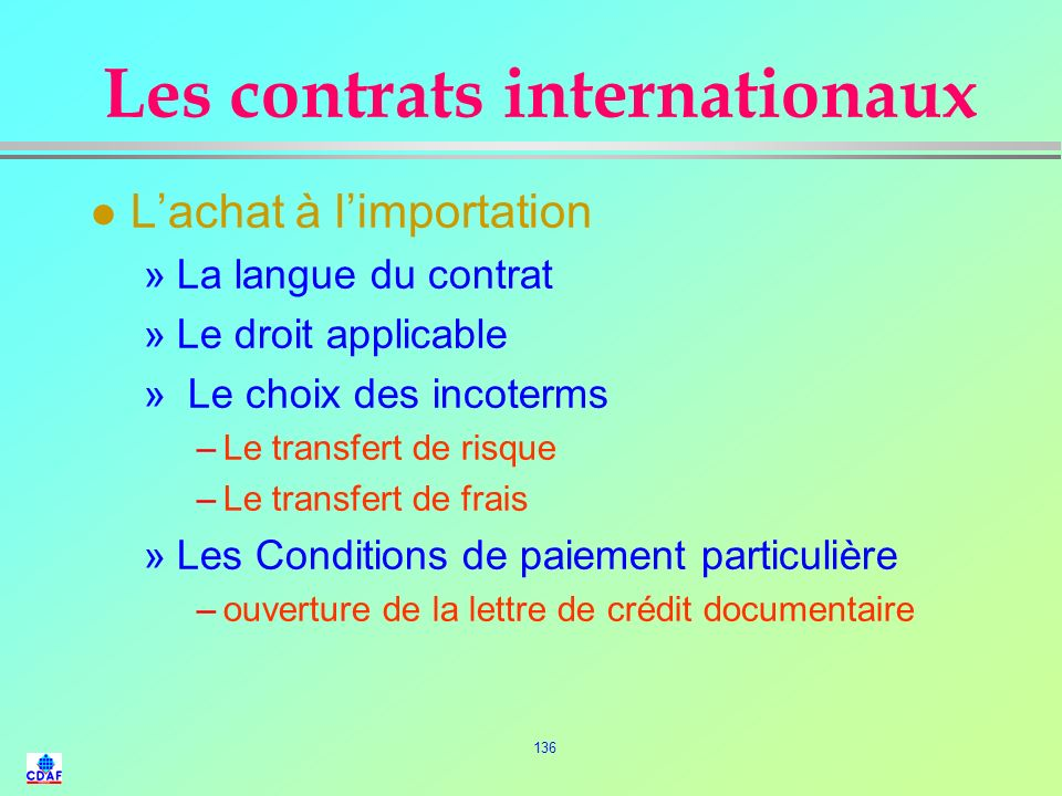Les contrats internationaux