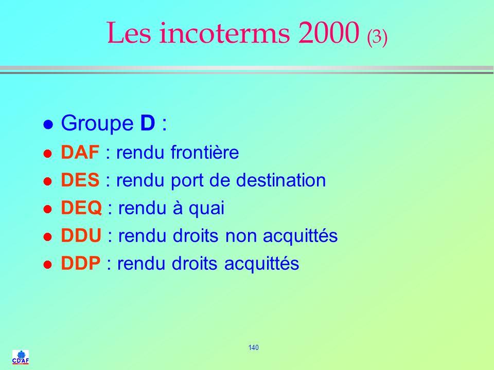 Les incoterms 2000 (3) Groupe D : DAF : rendu frontière
