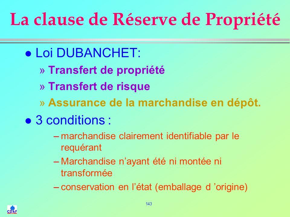 La clause de Réserve de Propriété