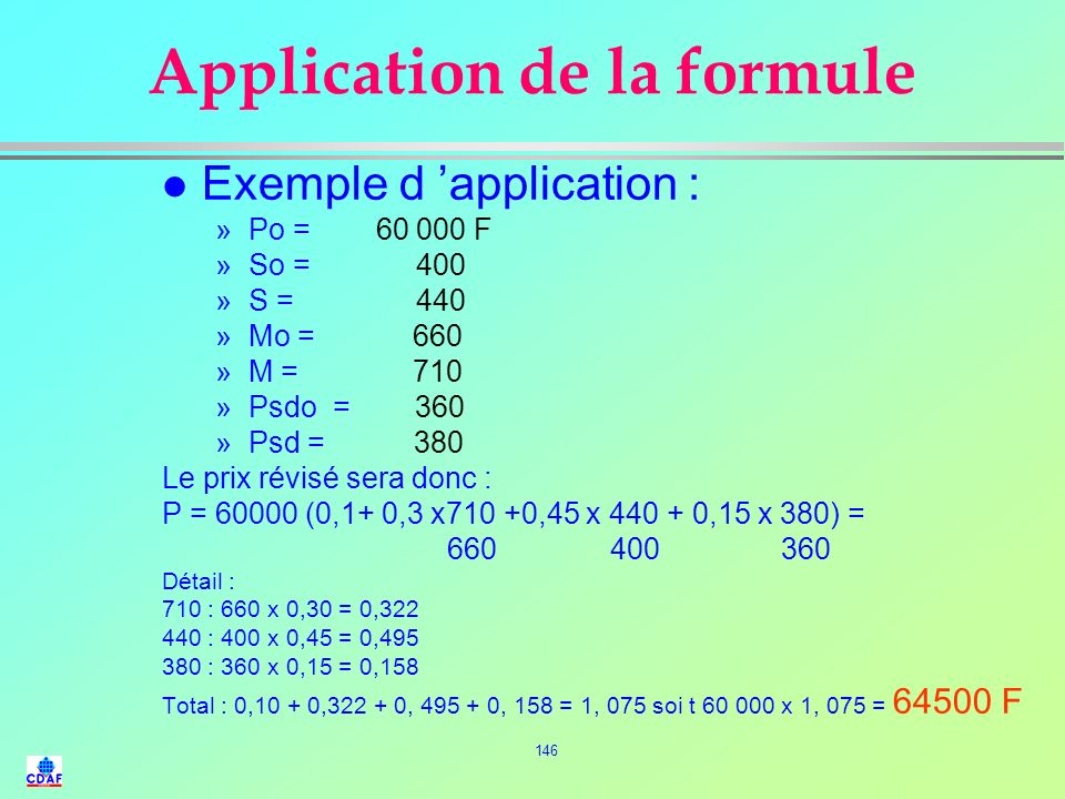 Application de la formule