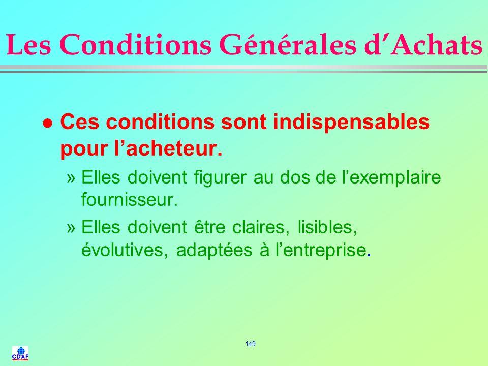 Les Conditions Générales d'Achats