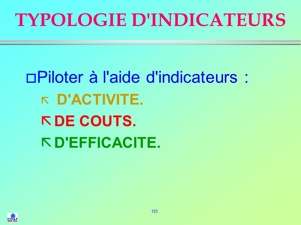 TYPOLOGIE D INDICATEURS
