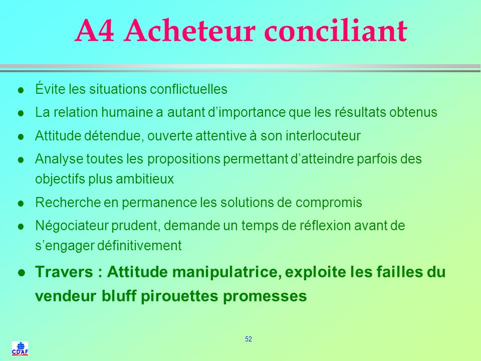 A4 Acheteur conciliant Évite les situations conflictuelles. La relation humaine a autant d'importance que les résultats obtenus.