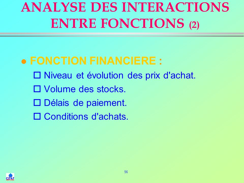 ANALYSE DES INTERACTIONS ENTRE FONCTIONS (2)