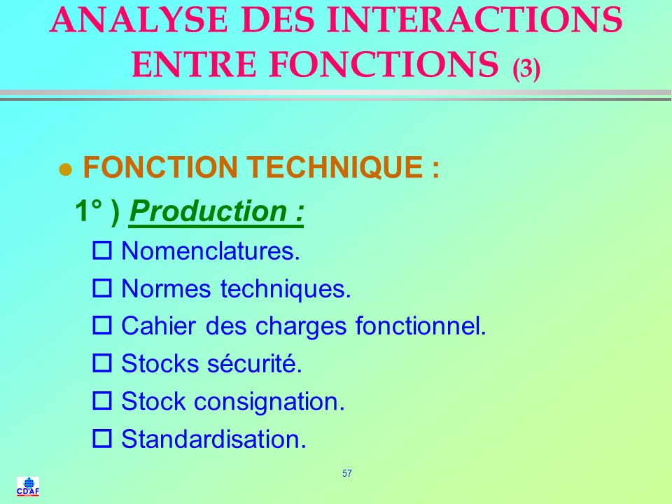 ANALYSE DES INTERACTIONS ENTRE FONCTIONS (3)