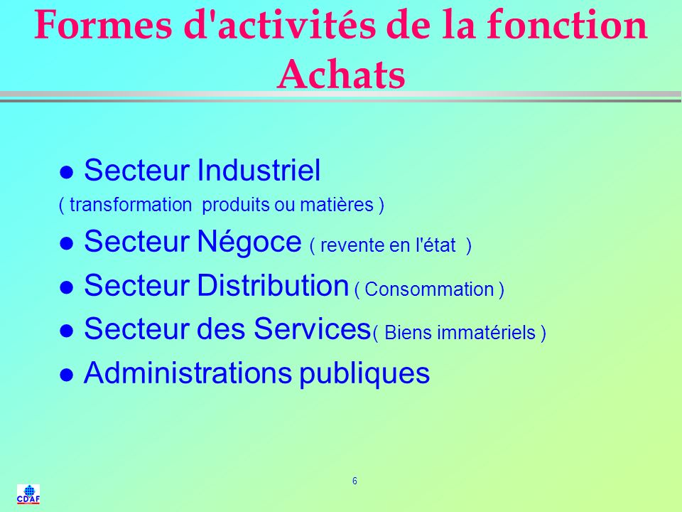 Formes d activités de la fonction Achats
